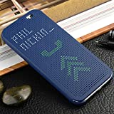 For HTC One M8 / M8 EYE Premium Best DOT VIEW Bumper Touch Flip Case Cover with Sensor - Blue