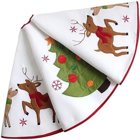 SWNY 127cm Yute de árbol de Navidad Falda de decoración Reno y ...