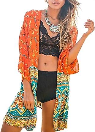 Minetom Mujer Verano Estampado Boho Floral Mantón Suelto Kimono Del Chal Cárdigan Cubra La Blusa de La Camisa Tops Cover Up: Amazon.es: Ropa y accesorios