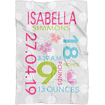Personalised Baby Blanket NAME DATE WEIGHT GIRL GIFT NEWBORN
