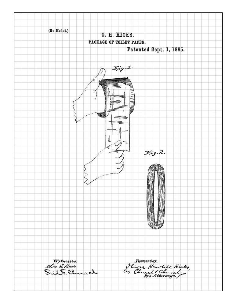 Amazon Com Package Of Toilet Paper Patent Print Art Poster Blue