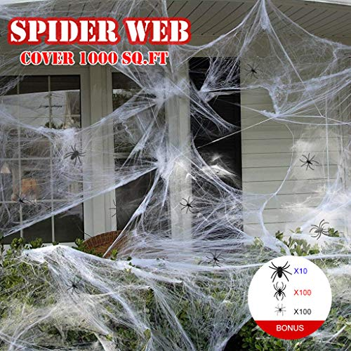 OWUDE Super Stretch Spider Web Set(1000 sqft) with 210Pcs Small Fake Spiders, Spooky Cotton Spider Webbing for Halloween Indoor/Outdoor Decoration -