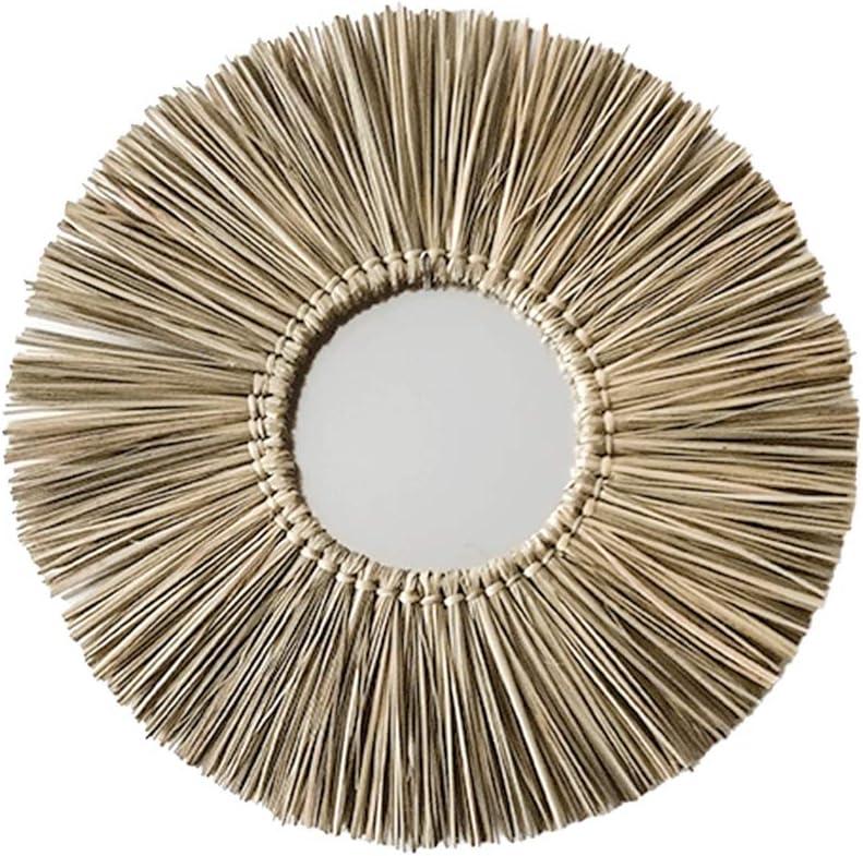 id/éal pour la maison Hanging D/écoration Ornement-Miroir mural d/écoratif ronde en rotin Miroir dans un cadre en osier Maquillage Wicker Miroir Rotin Miroir mural Miroir suspendu d/écoratif