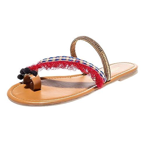 Pantofole Donna Sandali Estivi Donna Bassi da Spiaggia con Tacco Piatto  Etnico Primavera Estate Scarpe Romane 6495d8c0450
