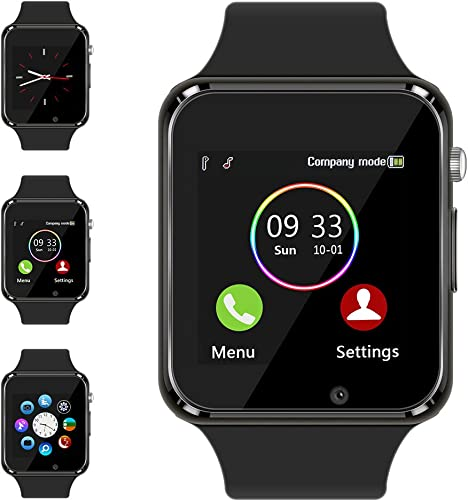 Smart Watch Compatible Samsung Android iPhone iOS for Men Women Kids, Wzpiss Bluetooth Smartwatch Touchscreen Wrist Watch Fitness Tracker with Camera Pedometer SIM SD Card Slot Black