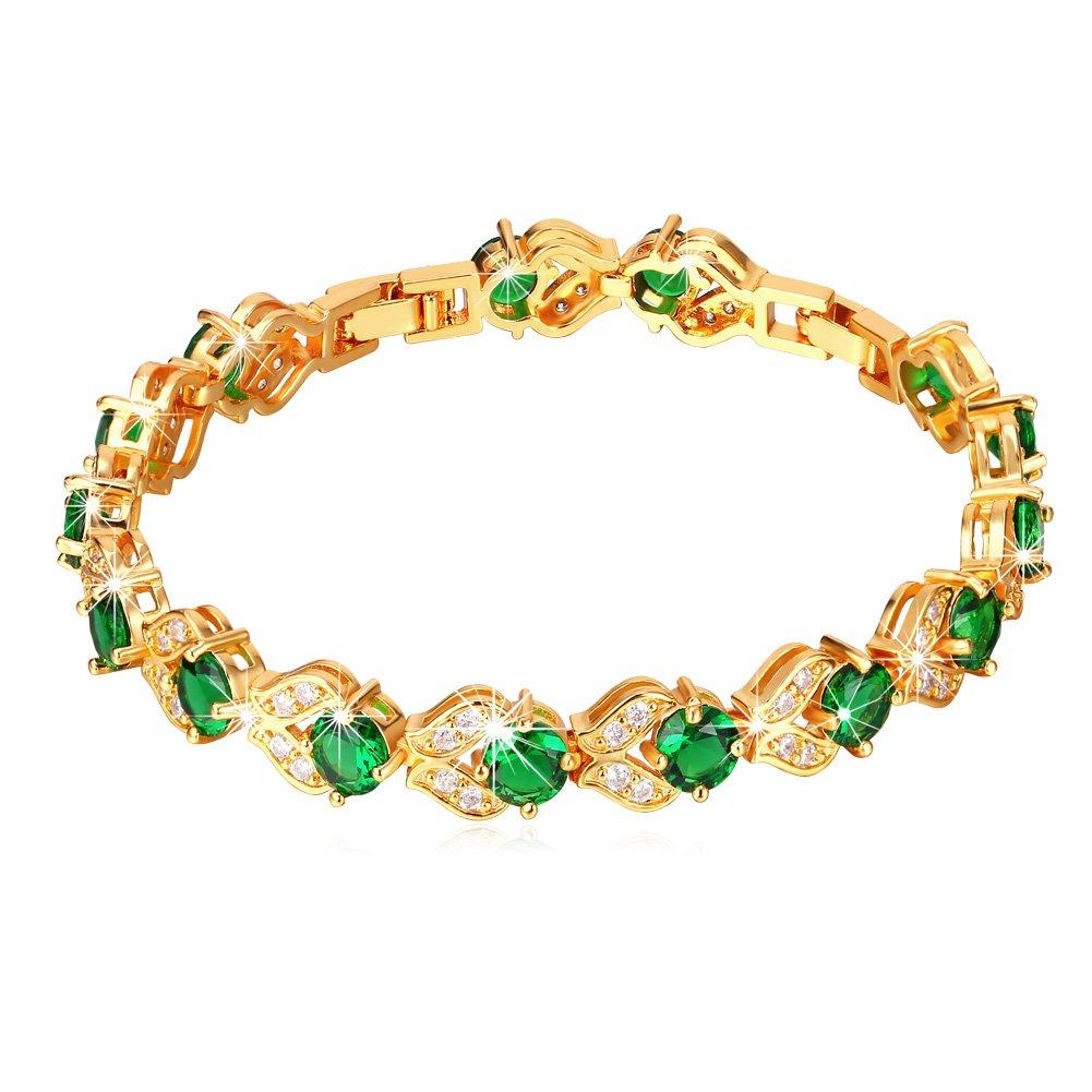 U7 Women May Birthstone Emerald CZ Crystal Bracelet 18K Gold Plated Round Cut Green Cubic Zircon Stone Tennis Bracelet, 6 Inch - 8 Inch