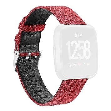 Goodbenemall - Reloj Inteligente de Pulsera para Fitbit Versa (Lona, Piel), Color Rojo: Amazon.es: Deportes y aire libre