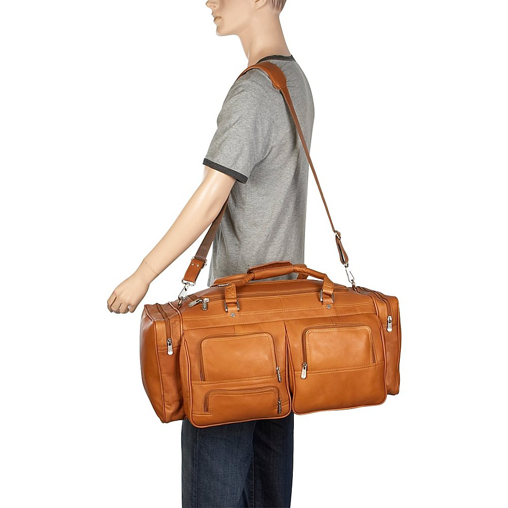 Piel Leather 24In Duffel with Pockets, Chocolate, One Size by Piel Leather (Image #5)