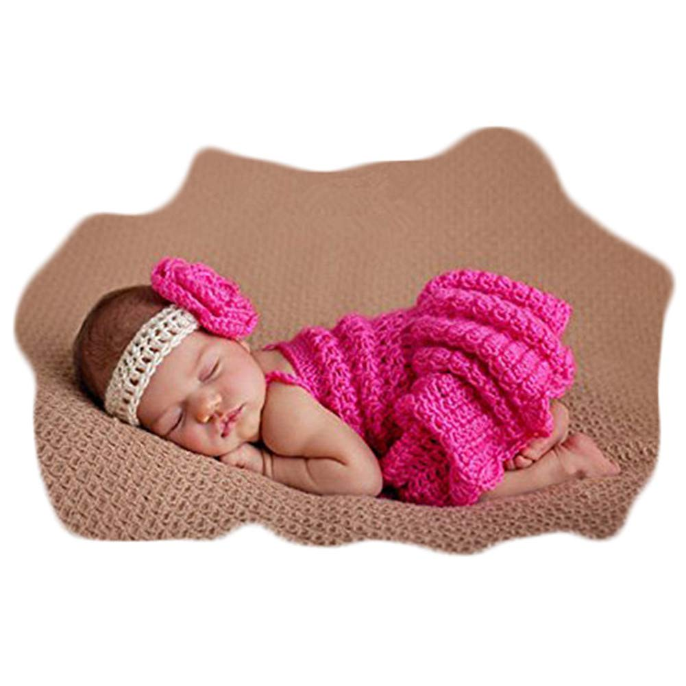 Vemonllas Fashion Newborn Girls Baby Handmade Outfits Photography Props Tutu with Flower Headdress