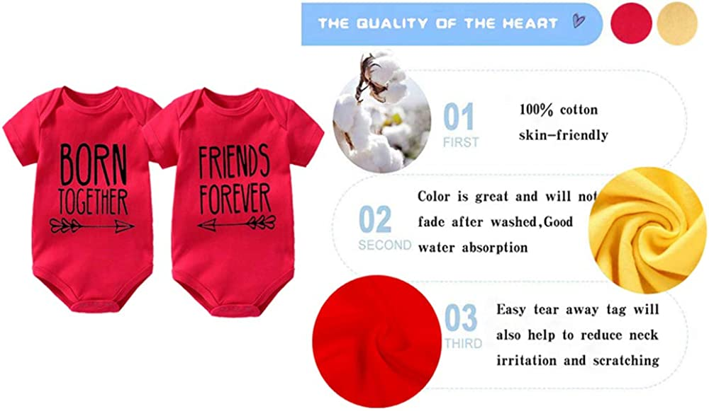culbutomind Baby Twins Bodysuit Best Friends Forever Baby Twin Set Friends Funny Matching Twins Outfits