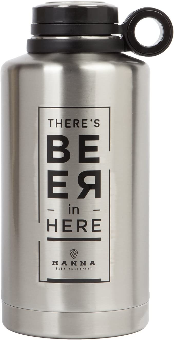 Manna Ring Growler | 64oz Vacuum Insulated Stainless Steel | Craft and IPA Beer Growler | Keeps Beverages Fresh and Cold up to 24 Hours | Lead and BPA Free -Beer in Here