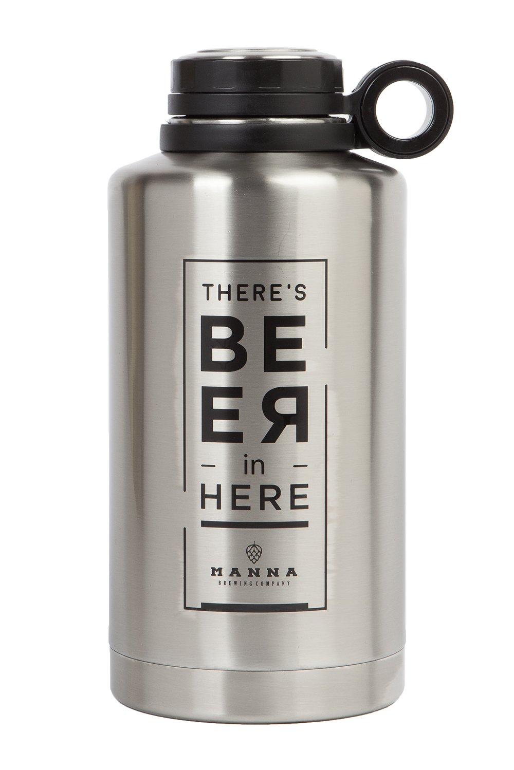 Manna Ring Growler   64oz Vacuum Insulated Stainless Steel   Craft and IPA Beer Growler   Keeps Beverages Fresh and Cold up to 24 Hours   Lead and BPA Free -Beer in Here