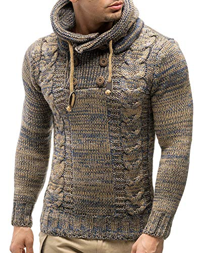 BELLEZIVA Mens Sweater Cotton Long Sleeve Knitwear Hoodie Knitted Jumper Cowl Neck Knit Basic Drawstring Sweaters ()