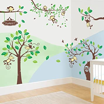 Rainbow Fox Wandtattoo Wandsticker Eule Baum Giraffe we Kinderzimmer ...