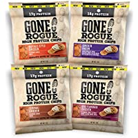 Gone Rogue High Protein Chips | Low Carb, Gluten Free Snacks| Variety Pack, 8 pack | 4 Flavors: Chicken Bacon, Buffalo Style Chicken, Teriyaki Chicken & BBQ Chicken