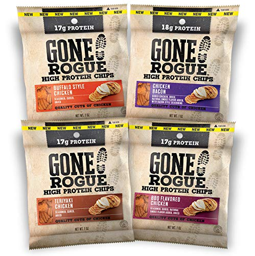 Gone Rogue High Protein Chips | Low Carb, Gluten Free Snacks| Variety Pack, 8 pack | 4 Flavors: Chicken Bacon, Buffalo Style Chicken, Teriyaki Chicken & BBQ Chicken ()