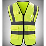 Reflective Vest High Visibility Neon Yellow Zipper Front Safety Vest Lime/Yellow Hi-Vis Day/Night Safety Vest