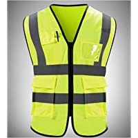 AIFFEE High Visibility Neon Yellow Zipper Front Safety Vest Lime/Yellow Hi-Vis Day/Night Safety Vest