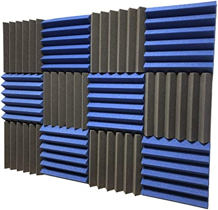 2x12x12 TEAL//CHARCOAL Acoustic Wedge Panels Soundproofing Studio Foam Tiles 12 Pack