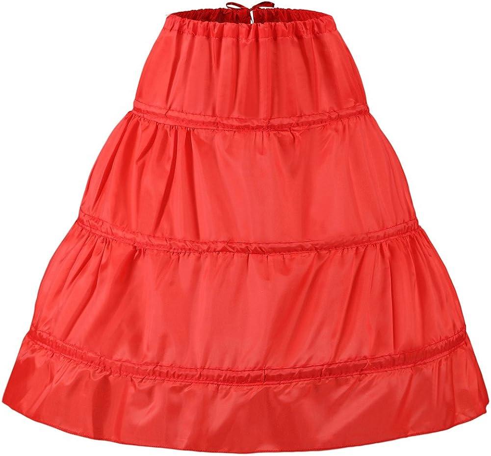 Noriviiq 2-16T Bambini 3 Cerchi Gonna Ptticoat per Fiori Ragazza Abito Pavimento-Lunghezza Crinoline Sottogonna