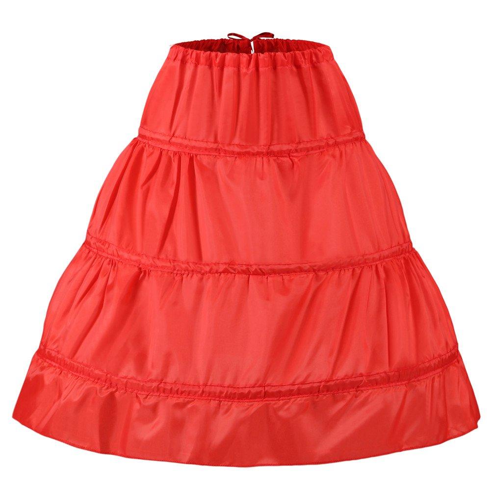 Noriviiq Child 3 Hoops Skirt for Flower Girl Dresses Petticoat Underskirt Children
