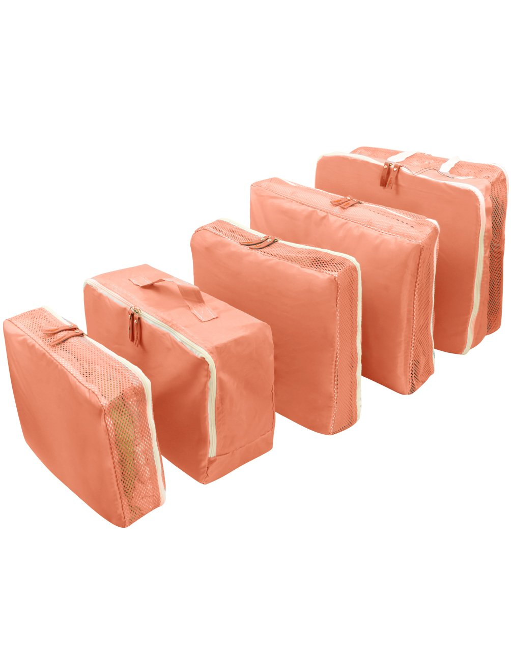 Easy Travel Quintuple Travel Luggage Packing Organizer Bag Set (5 Pcs) - Peach