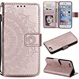 Floral Wallet Case for iPhone 6S 4.7'',Strap Flip Case for iPhone 6 4.7'',Leecase Embossed Totem Flower Design Pu Leather Bookstyle Stand Flip Case for iPhone 6S/6 4.7''-Rose Gold