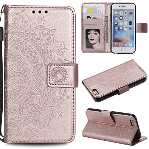 Floral Wallet Case for iPhone 6S Plus 5.5'',Strap Flip Case for iPhone 6 Plus 5.5'',Leecase Embossed Totem Flower Design Pu Leather Bookstyle Stand Flip Case for iPhone 6S Plus /6 Plus 5.5''-Rose Gold by Leecase