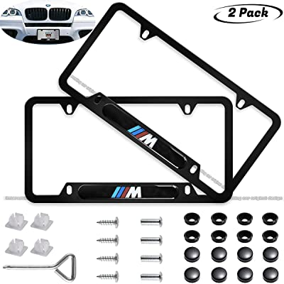 2pcs ///M Logo License Plate Cover,Applicable to US Standard car License Frame for BMW: Automotive