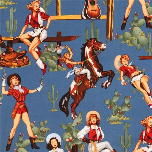 Henry Fabric Alexander (blue From The Hip Cowboy Pin up fabric Alexander Henry (per 0.5 yard multiples))