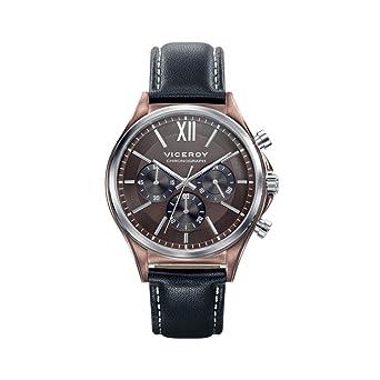 Viceroy Reloj Cronógrafo para Hombre de Cuarzo con Correa en Cuero 471109-43: Amazon.es: Relojes