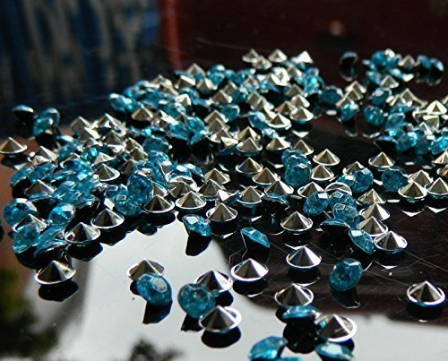 Trimming Shop 2000 Pieces Acrylic Crystal Confetti Diamond Scatters For Weddings Birthdays Events And Celebrations Party Decoration For Table Tops Silver Turquoise (Turquoise And Silver Party Decorations)