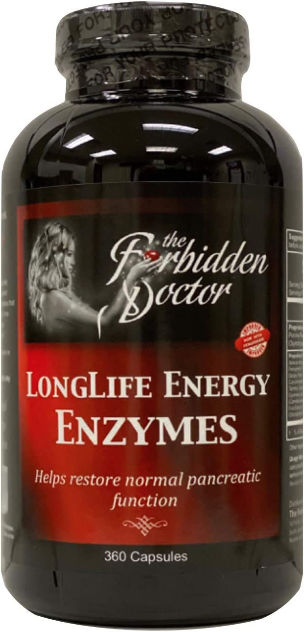 LongLife Energy Enzymes, 3mo Supply-Pancreatin 6X Strongest Enzyme Pancreas Digestive Support 100% Whole Food-No Synthetics, Trypsin 2500 USP, Chymotrypsin 1000 USP-PROBIOTICS-Turmeric-Herbs
