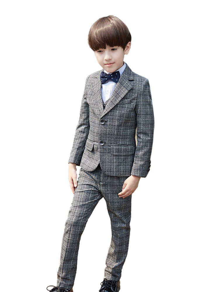 SK Studio Boys' 5-Piece Dress Classic Fit Formal Modern Suit Set Grey by SK Studio