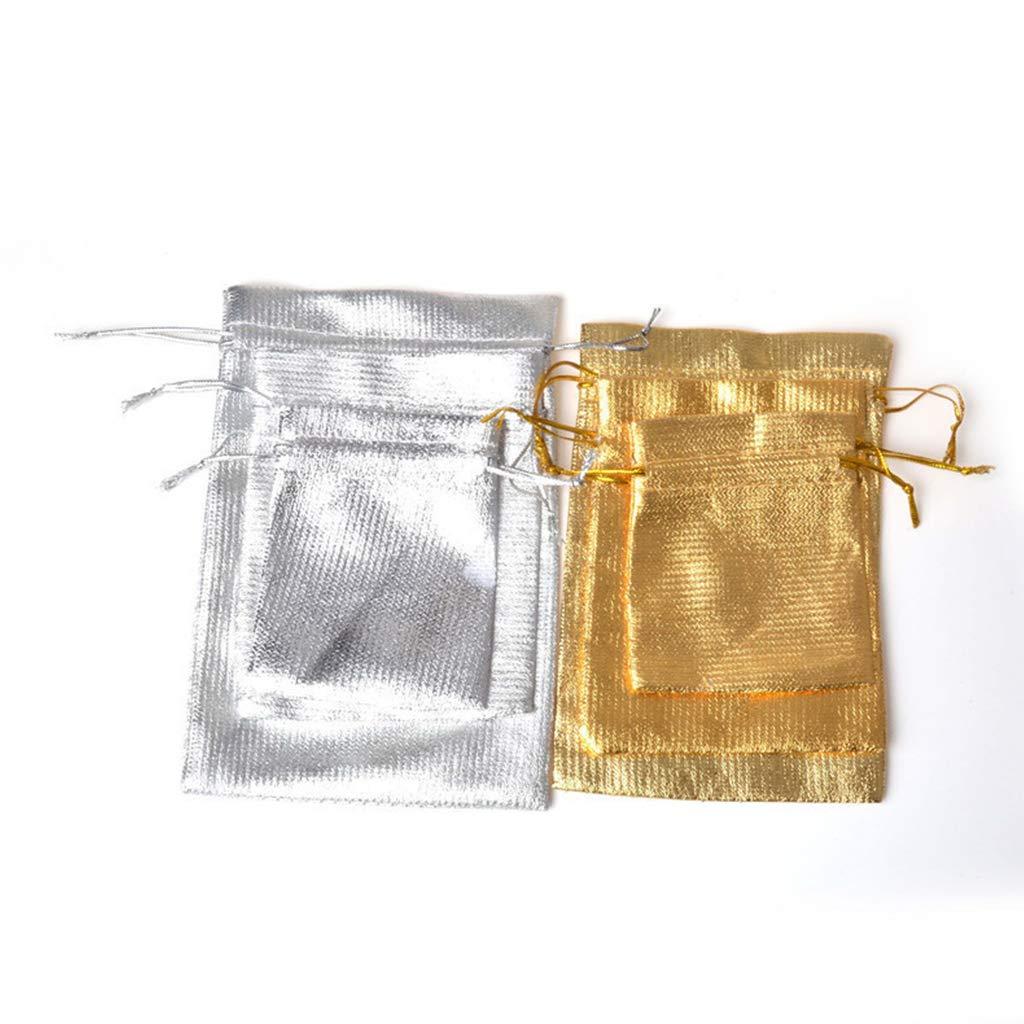 WE-HYTRE 100 PZ Sacchetti di Organza Argento e Oro con Coulisse Natale Halloween Bomboniere Bomboniere Sacchetti Regalo Orecchini Caramelle Borse Gioielli