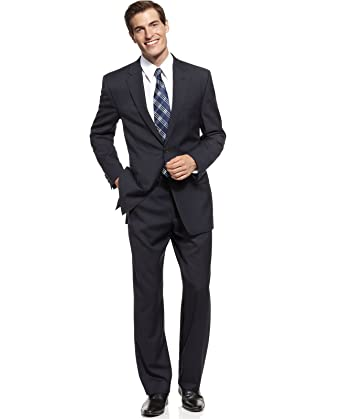 Michael Kors Mens Solid Navy Blue Wool Suit- Size 40S