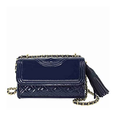 8812a995c Tory Burch FLEMING PATENT MICRO SHOULDER BAG (Royal Navy): Handbags:  Amazon.com