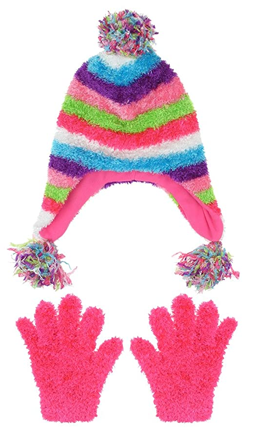 48c73e0d7cd Amazon.com  Capelli New York Girls Striped Earflap Hat With Gloves Set  Multi Combo S   M  Clothing