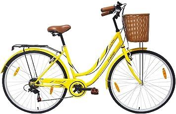 Tiger Vintage - Bicicleta de estilo Heritage para mujer, color amarillo, marco de 45,7 cm, 700 C, 7 velocidades: Amazon.es: Deportes y aire libre