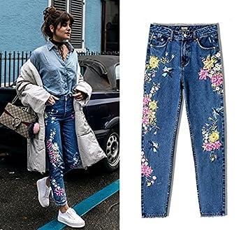 Easy Go Shopping Pantalones Vaqueros Rectos Delgados de la ...