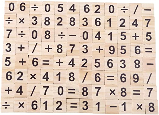 WEILYDF 100 Piezas Rompecabezas de Madera Simple Seguro Letras número Scrabble de Madera para niños Juguetes educativos Bloques de Madera, Madera, Number, As Description: Amazon.es: Hogar