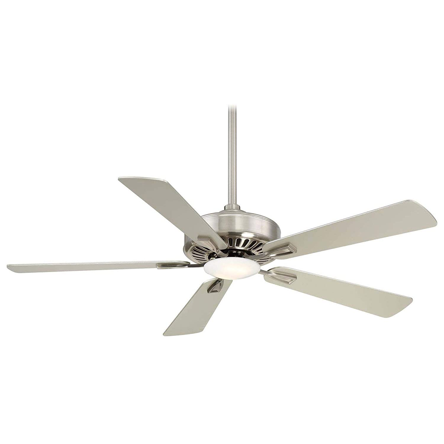 Minka Lavery F556L-BN Protruding Mount, 5 Silver Blades Ceiling fan with 17 watts light, brushed nickel