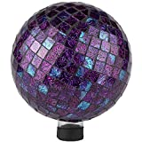 "Lily's Home Glass Gazing Ball | Holographic Effect, Stunning Rainbow Color Reflection Effect, Mosaic Design, Purple Mirrors, Attracts Good Fortune, Lovely Centerpiece, 10"" Dia."