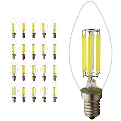 20 unidades C35 E14 LED Vela Bombilla 6 W, equivalente a 45 ...