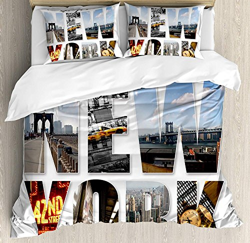 Full Size New York 3 Piece Bedding Set Duvet Cover Set, New York City Collage Featuring with Different Areas of the Big Apple Manhattan, 3 Pcs Comforter/Qulit Cover Set with 2 Pillow Cases,Multicolor