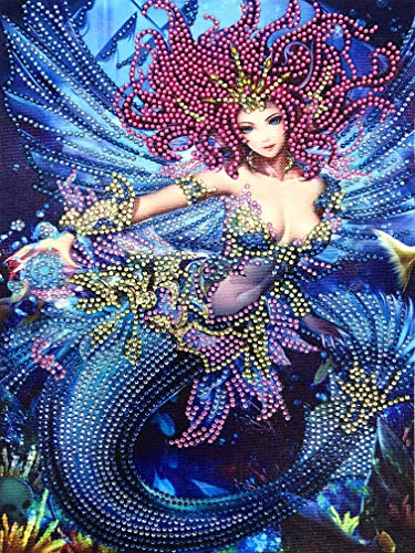 KoKoWill Special Shaped Diamond Painting Kits for Adults, 5D DIY Partial Drill Crystal Rhinestone Embroidery Cross Stitch Home Wall Decor Arts Craft Canvas,Mermaid Princess,11.81 x 15.75 inch