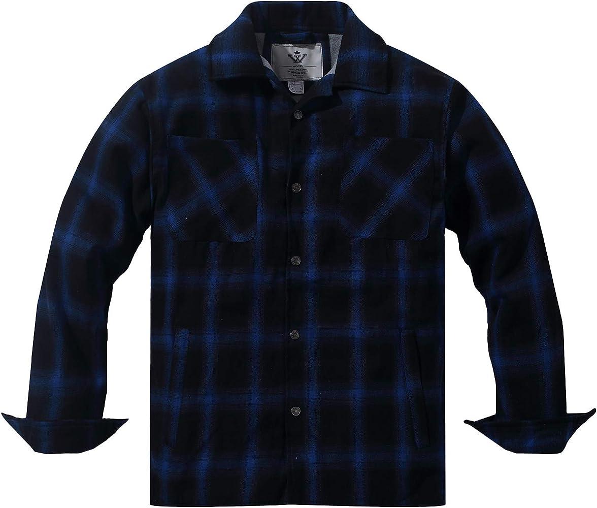 WenVen Chaqueta de Camisa Mangas Largas de Franela para Hombre Azul Medium: Amazon.es: Ropa y accesorios