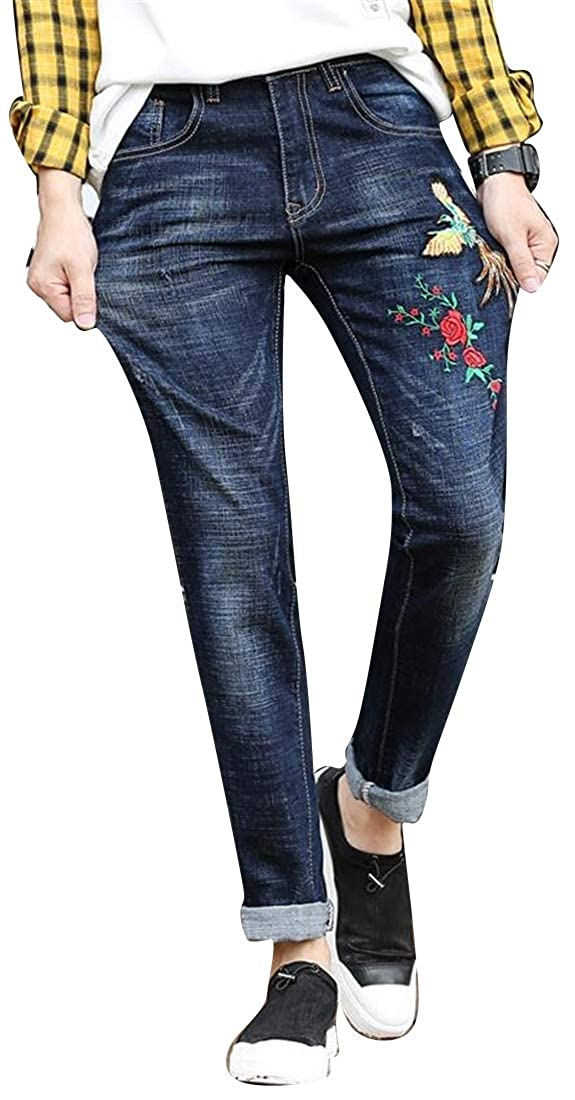 Fubotevic Men Embroidery Washed Mid Waisted Slim Fit Elasticity Casual Pants