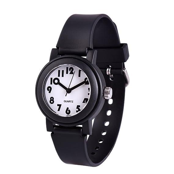 WOLFTEETH Analog Grade School Boys Reloj De Pulsera con Segunda Mano Cute Pequeño Rostro Blanco Dial Resistente Al Agua Niño Negro 305804: Amazon.es: ...