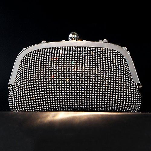 Rhinestones Women's Black Handbag Purses Clutches Bag Crystal Bags Evening Bagood Shoulder wfqdOw